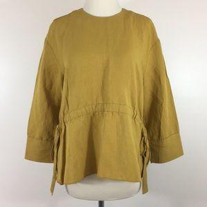 Zara Yellow 3/4 Sleeve Blouse - Size XS